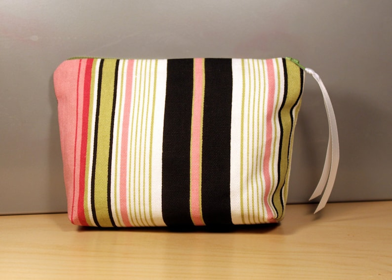 Sale: Pink and Green Striped Zipper Pouch image 0