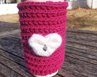 Coffee Cozy, Sleeve for Coffee  Tumbler,  Heart, Knitted,  Tea Cozy,  Hand Knit,  Eco-Friendly,  Gift for Her,  Teacher, Crochet