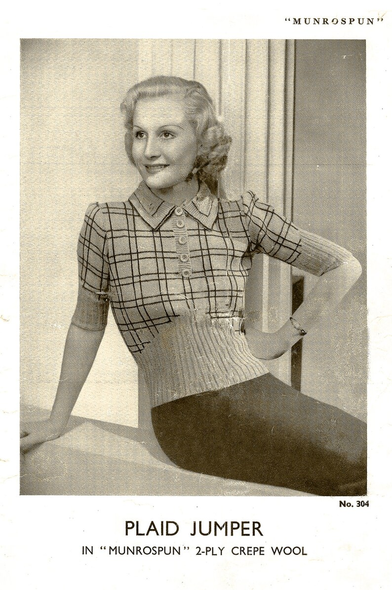 Vintage Sweater Pattern 1930s Womens Sweater Knitting 128 Etsy