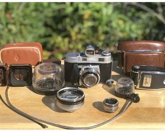 Vintage Kodak Retina IIc Camera With Rode stock Lenses f 2.8/50, f 4/80, f 5,6/35mm Rare