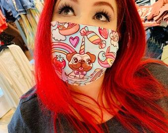 Face Mask 'Pug-a-corn' Cotton Masks Face Covering