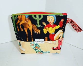 Sweater Size Project Bag in Cowgirl Betty