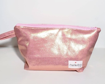 Rose Gold Sock Size Project Bag from Recycled upholstery fabric