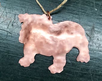 Bulldog Silhouette Copper Dog Ornament, English Bulldog, French Bulldog, Team Mascot
