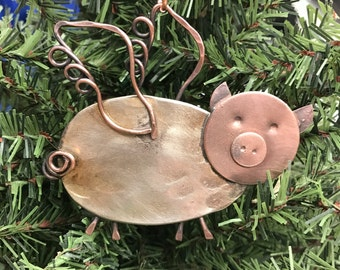 When Pigs Fly, Spoon Pig w/ Wings Ornament, Flying Pig