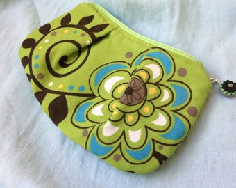 Cosmetic Bag, Change Purse, Zipper Pouch, Makeup Bag, Bridesmaid Gift, Gift for Her, Chic Coin Purse, Stitch Marker Bag, Notions Pouch