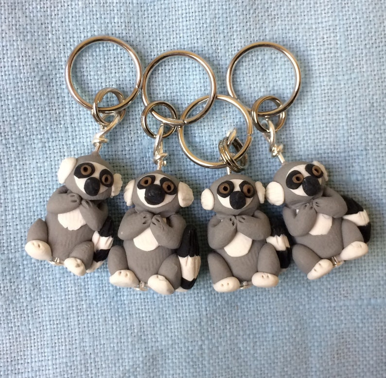 Lemur Polymer Clay Stitch Markers group of 4 miniature image 0