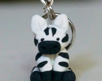 Zebra Polymer Clay Stitch Markers Herd of 4 Miniature Sculpted Animal Knit, Crochet Accessories