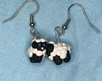Sheep Polymer Clay Sculpted Earrings Stainless Steel
