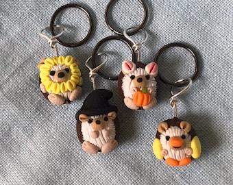 Halloween Costumed Hedgehog Stitch Markers - Prickle of 4