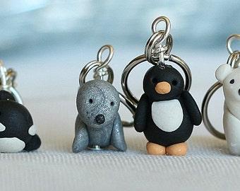 Miniature Polar Polymer Clay Stitch Markers Penguin, Orca, Seal, Polar Bear (set of 4)