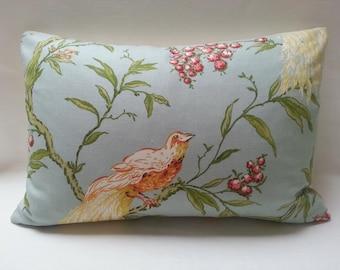 "14"" X 20""  large  lumbar Duralee designer fabric Blue with Gold Bird and Berries & linen Throw Pillow Cover"