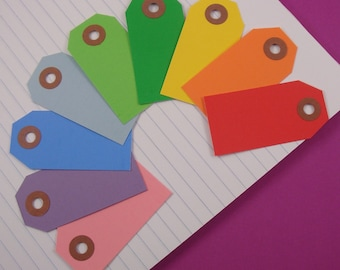 27 shipping tags labels / size 1 small . rainbow assortment . 9 colors