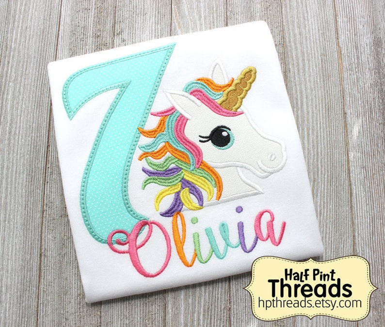 Unicorn Seventh Birthday Embroidered Shirt