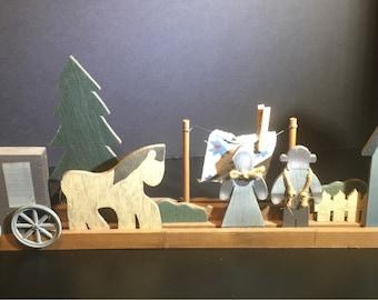 Amish Wooden Horse Cart Buggy Barn Decoration 24 Long