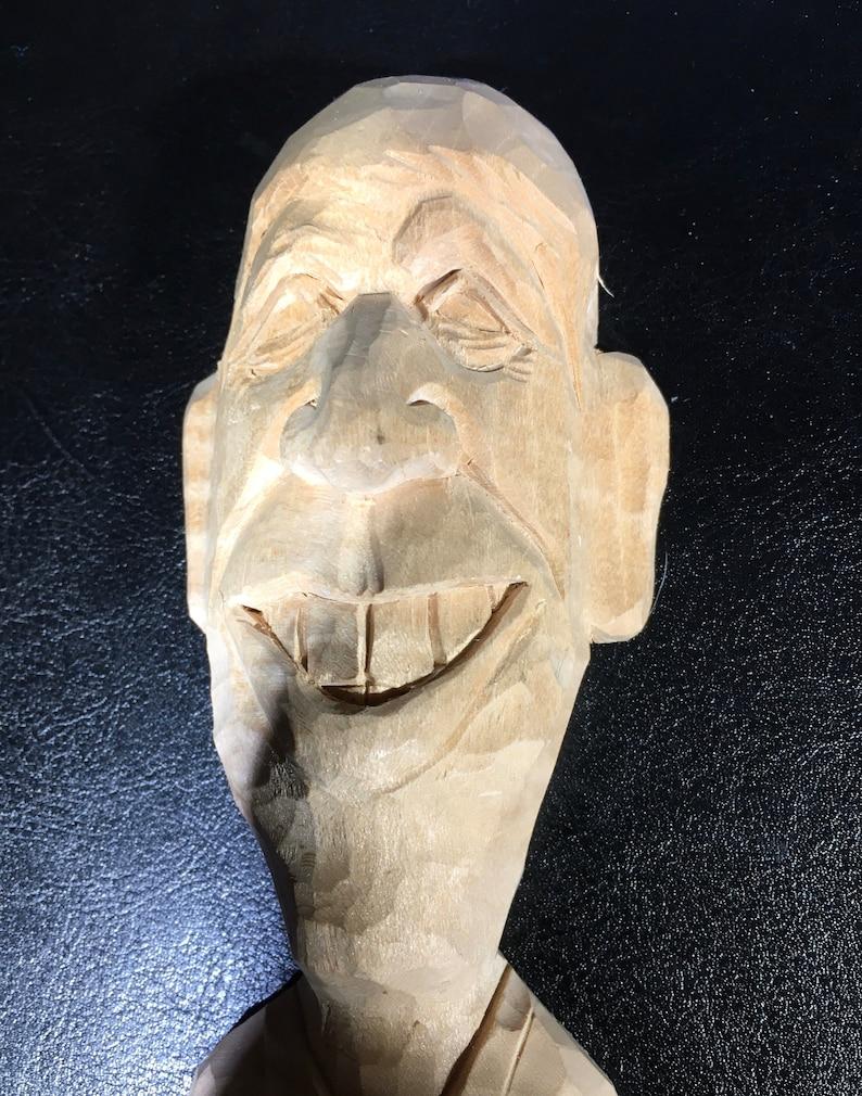 6\u201d Carved Wooden Man\u2019s head Obama