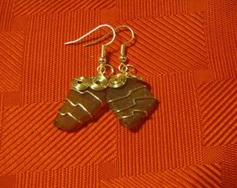 Brown Sea Glass Earrings