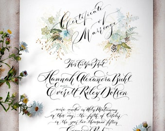 Hand Written Marriage / Wedding Certificate, Custom Succulent Design, Blue and green, Calligraphy
