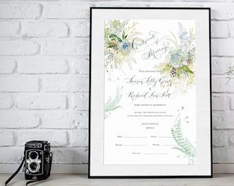 Marriage Certificate, Wedding Document, Botanical, Succulents, Watercolor, Garden Wedding, Calligraphy
