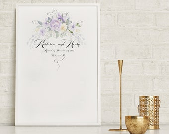 Wedding Guestbook, Custom Guestbook, Guestbook alternative, Hand painted, Wedding Signature Sheet, Sign In Sheet, Watercolor and Calligraphy