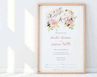 Marriage Certificate, Wedding Document, Pink Flowers, Botanical, Watercolor, Garden Wedding, Calligraphy