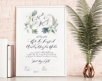 Marriage Certificate, Wedding Certificate, Watercolor, Floral, Tropical Wedding, Modern, Custom Wedding - One of a kind Wedding