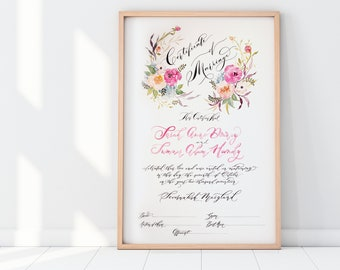 Marriage Certificate, Wedding Certificate, Watercolor, Calligraphy, Floral, Pink Wedding, Modern, Custom Wedding - One of a kind Wedding