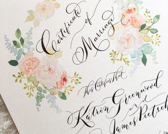 Marriage Certificate, Wedding Certificate, Modern Calligraphy and Watercolor Design - Pastel Hues
