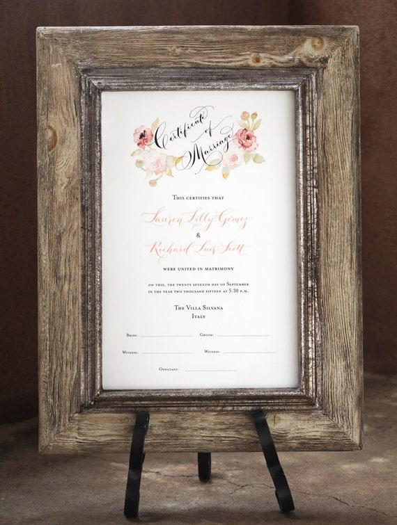 Marriage Certificate Wedding Certificate Custom Calligraphy | Etsy