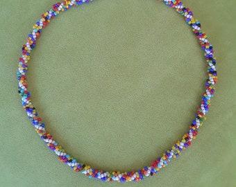 Sweet Sprinkles Seed Bead Beaded Rope Choker Necklace