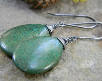 simple chrysocolla earrings - oxidized sterling silver - rustic, dangle earrings