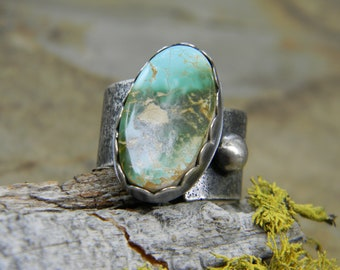 Large Royston Turquoise Ring - Size  10.5-12 - Adjustable - Rustic, Oxidized Silver