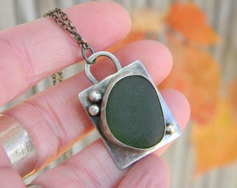 Dark Olive Green Sea Glass Pendant Necklace- really rustic, oxidized silver