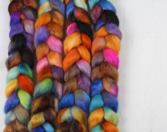 Wensleydale Hand Dyed Combed Top - BROADWAY - Roving Spinning Fiber Painted Kettle Spinner Handspinner Handspinning
