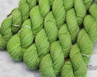 Sock Minis - GREEN APPLE - Fingering Superwash Merino Nylon Wool - mini skein yarn, ColorMix, Color Mix, ombre marl marled knitting
