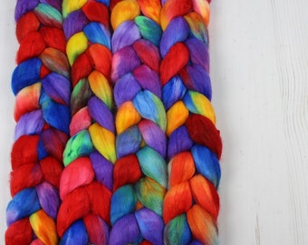Faux Cashmere (Nylon) Hand Dyed Combed Top - KINDERGARTEN - Roving Spinning Fiber Painted Kettle Spinner Handspinner Handspinning