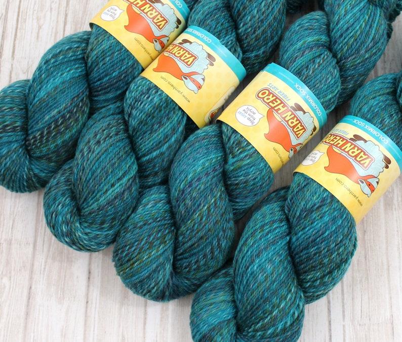 Sock  LAGOON  Hand Dyed Yarn Fingering Superwash Merino Wool image 0