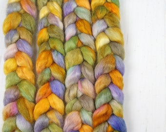 Wensleydale Hand Dyed Combed Top - SPRING MORNING - Roving Spinning Fiber Painted Kettle Spinner Handspinner Handspinning
