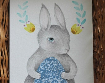 "Original painting Easter Bunny Egg painting, ""Easter Rabbit, Grey"""