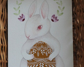 "Original Easter Bunny Egg painting, ""Easter Rabbit, Pink"""