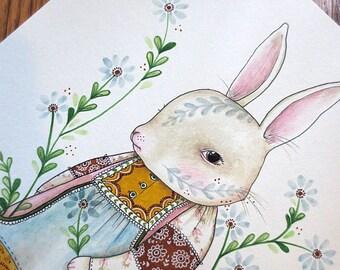 """Original Mixed Media Illustration, """"The Last of Summer in Her Pockets"""", MarmeeCraft Rabbit Art"""