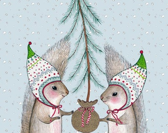 "SALE MarmeeCraft holiday art print, ""Merry Little Squirrels"" SALE"