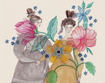 """MarmeeCraft flower girls art print, """"Indienne"""""""