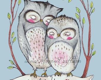 "MarmeeCraft owls art print, ""Together"""