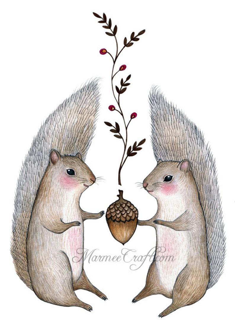 MarmeeCraft Squirrel acorn art print Harvest Come image 0
