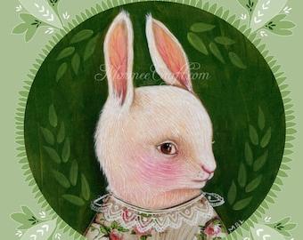 "MarmeeCraft art print, ""Green Summer Rabbit, White"""