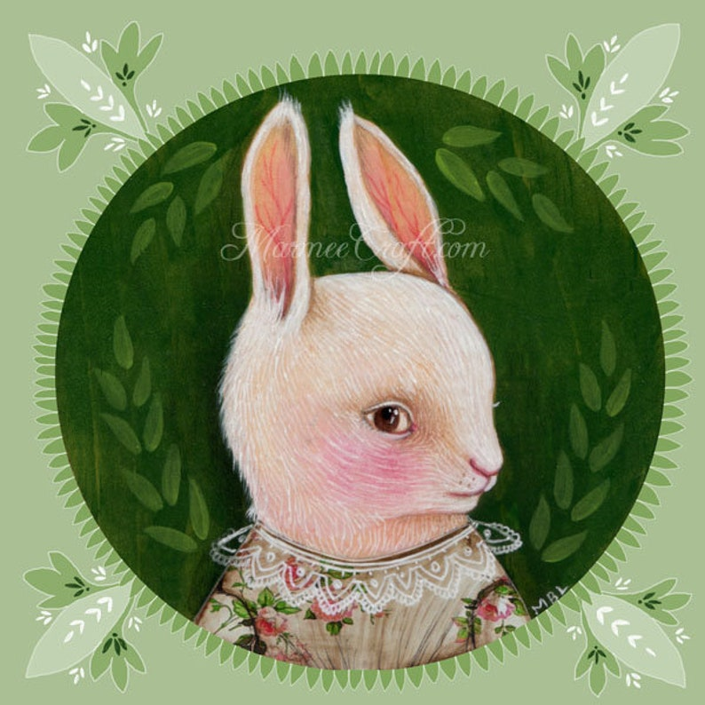 MarmeeCraft art print Green Summer Rabbit White image 0