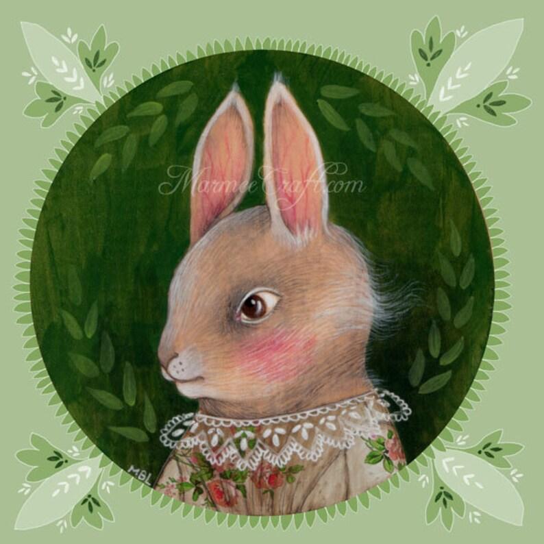 MarmeeCraft art print Green Summer Rabbit Grey image 0