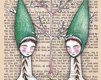 "MarmeeCraft folk acorn art print, ""Our Oak Tree"""