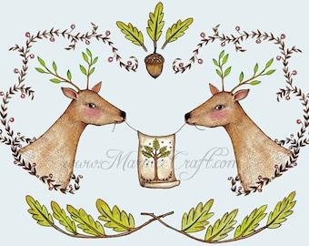 "MarmeeCraft art print, ""Fabled Deer"""